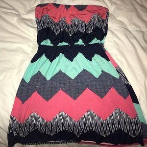 Chevron Colorful Strapless Dress